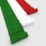 Italian flag carpet. Fine 3d image of rolling carpet with italian flag colors royalty free illustration