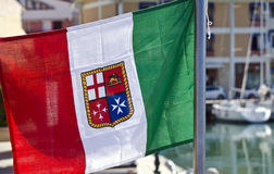 Italian flag with coat of arms Royalty Free Stock Images