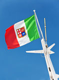 Italian flag with coat of arms Stock Photos
