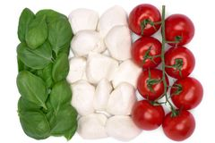 Italian flag colors from food and vegetables. Italian flag colors arranged from food and vegetables royalty free stock image