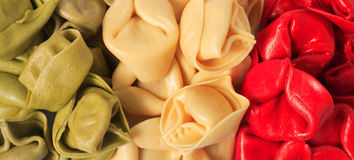 Italian flag coloured pasta Stock Images