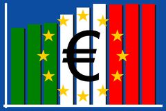 Italian flag depciting problems with Euro currency. And its increasing debt during time Stock Photo