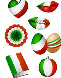 Italian flag elements Royalty Free Stock Image