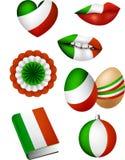 Italian flag elements stock illustration