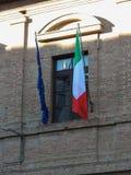 Italian flag and EU flag Royalty Free Stock Photos