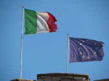 Italian flag and EU flag Royalty Free Stock Images