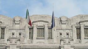 Italian flag and European Union flag waving. stock video footage