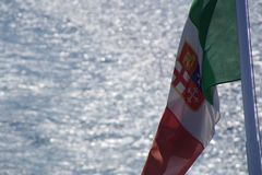Italian flag from ferry Royalty Free Stock Images