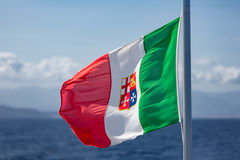 Italian Flag at ferry between Sicily and Aeolian Islands Royalty Free Stock Photography