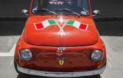 Italian flag on a Fiat car at a week end event Stock Photos