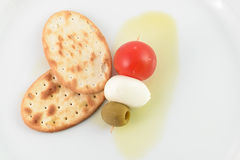 Italian flag food. Butterfly on dish stock photography