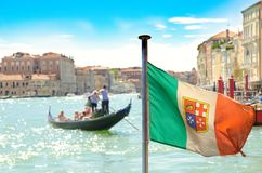 Italian flag. On grand canal in Venice royalty free stock photo