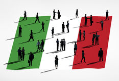 Italian Flag. And a group of business people stock illustration