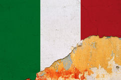 Italian flag grunge wall Stock Image