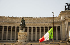 Italian flag on half mast in front of The Vittoriano Royalty Free Stock Image