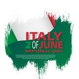 Italian flag. Italian translation of the inscription: Italy. Second of June. Italian Republic Holiday. Italian flag. Second of June. Italian Republic Holiday Royalty Free Stock Photo