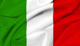 Italian Flag - Italy. Italian Flag waving on satin texture Royalty Free Stock Images