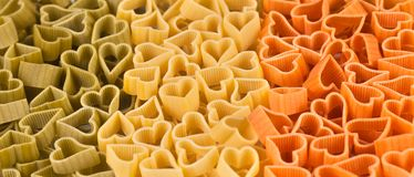 Italian flag made from color pasta of heart Royalty Free Stock Images