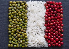 Italian flag, made of condiments Stock Image