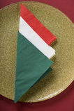 Italian flag made from paper napkin Stock Images