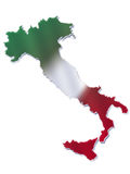 Italian flag and map. Ilustration of Italian map with Italian flag colors Royalty Free Stock Photos