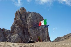 Italian flag on Marmolada mountain. Italy, Sud Tirol Royalty Free Stock Images
