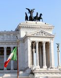 Italian flag and monument Vittoriano in Rome Royalty Free Stock Photography