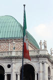 Italian flag and the palladian Basilica in vicenza Italy Royalty Free Stock Photo