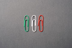 Italian flag with paperclips Stock Images