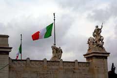 Italian Flag in Piazza Campiodoglio Royalty Free Stock Image