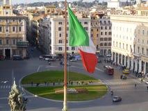 Italian flag on Piazza Venezia in Rome Stock Photography