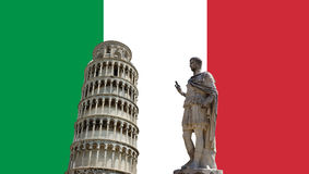 Italian flag with Pisa tower Royalty Free Stock Photo