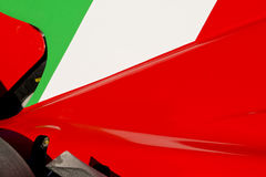 Italian Flag on Race Car. The colors and crest of the national flag of Italy painted on the body work of a race car royalty free stock photography