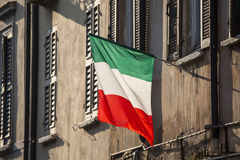 Italian flag. Realistic view of the Italian flag in the street stock photos