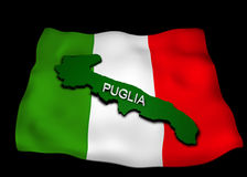 Italian flag with the region Puglia Royalty Free Stock Photos