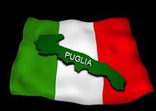 Italian flag with the region Puglia. Italian flag with the Puglia region in relief Royalty Free Stock Photos