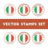 Italian flag rubber stamps set. National flags grunge stamps. Country round badges collection Stock Images
