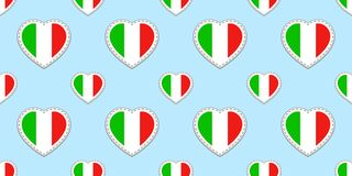 Italian flag seamless pattern. Vector Italy flags stikers. Love hearts symbols. Language courses, sports pages, travel, geographic. Cartographic elements vector illustration