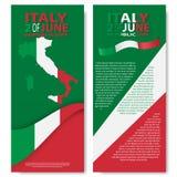 Italian flag. Italian translation of the inscription: Italy. Second of June. Italian Republic Holiday. Italian flag. Second of June. Italian Republic Holiday Royalty Free Stock Images