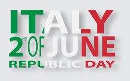 Italian flag. Italian translation of the inscription: Italy. Second of June. Italian Republic Holiday. Italian flag. Second of June. Italian Republic Holiday Royalty Free Stock Photos