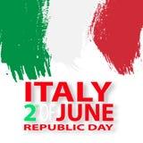Italian flag. Italian translation of the inscription: Italy. Second of June. Italian Republic Holiday. Italian flag. Second of June. Italian Republic Holiday Stock Photo