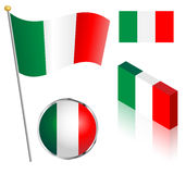 Italian Flag Set Royalty Free Stock Images