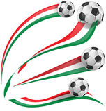 Italian flag set with soccer ball. On white background Stock Images