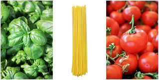 Italian flag with spaghetti ingredients Royalty Free Stock Photo