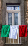 The Italian Flag. A special italian flag made with clothes Stock Photo