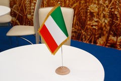 Italian flag on the table Stock Images