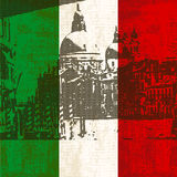 Italian Flag and Venice. Italian Flag with view of Grand Canal, Venice Stock Images