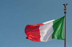 Italian flag at Vittoriano Royalty Free Stock Photography