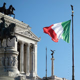 Italian Flag Waving Altar Fatherland Stock Photo