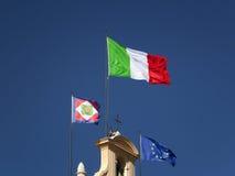 Italian flag waving in the sun Royalty Free Stock Photo